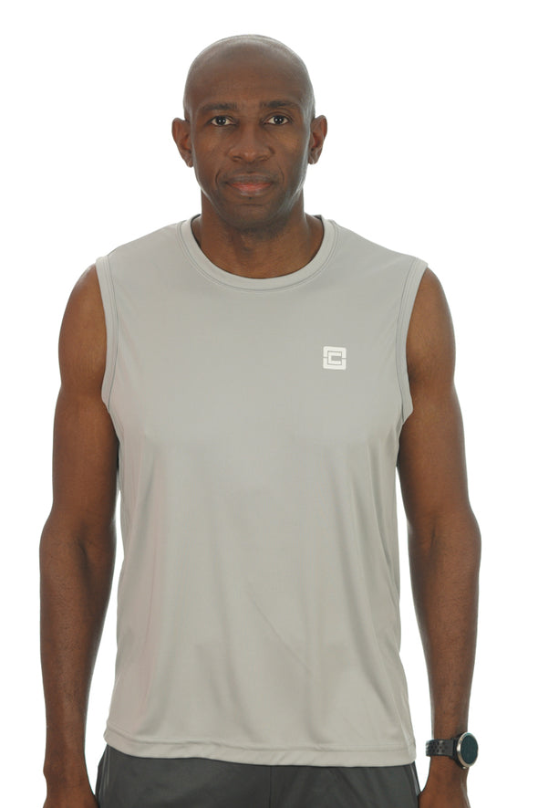Men's Sleeveless Competitor Tank Gray/White Logo