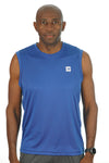 Men's Sleeveless Competitor Tank Blue/White Logo