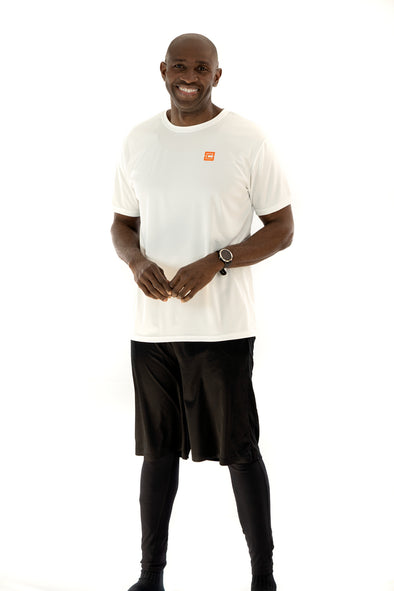 Men's Lightweight Sportswear T-Shirt White/Orange Logo