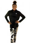 Youth Girl's 1/4 Zip Pullover Black