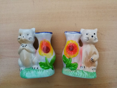 Mini vase de chat en porcelaine (7,20 x 6,50 cm)