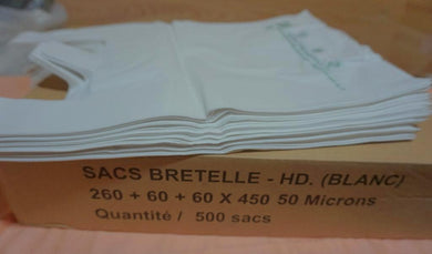 Sac bretelle (260 + 60 + 60 x 450 mm 50 Microns)