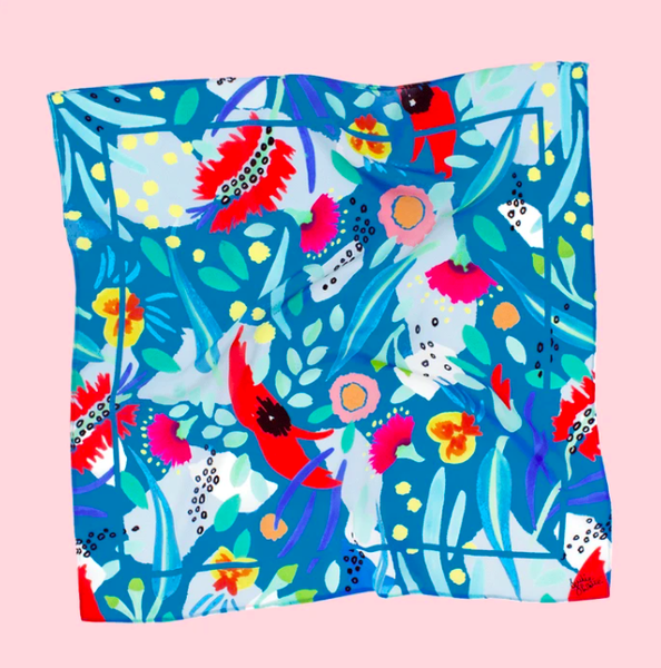 Julie White -  Square Silk Cotton Scarf - Abstract Oz Teal - 65 x 65cm