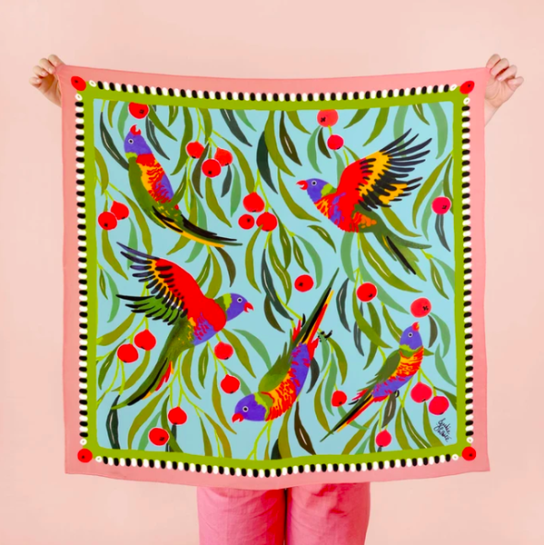 Julie White - Silk Scarf -Lorikeet - 90 x 90cm
