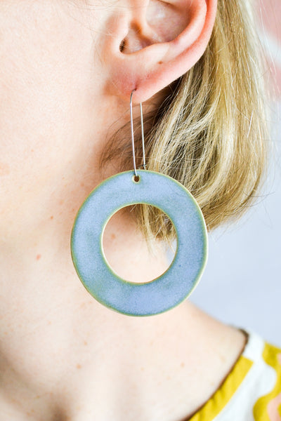 Togetherness design - Sky Hoop Ceramic Hook Earrings