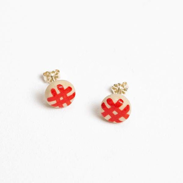 Shuh - Red Gingham Stud earrings