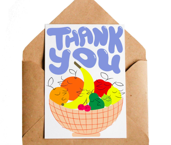 Lottie Hall Greetings Card -  Thank You Fruit