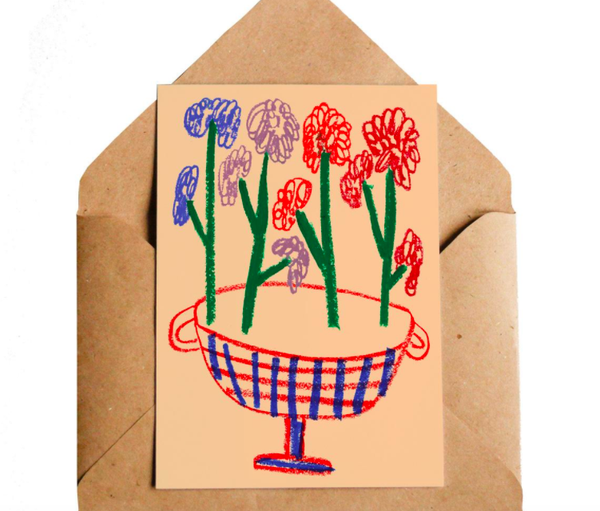 Lottie Hall Greetings Card -  Flower Vase