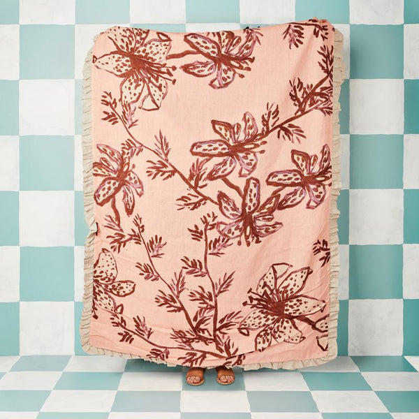 Bonnie and Neil - Spotted Tiger Lily Peach Throw