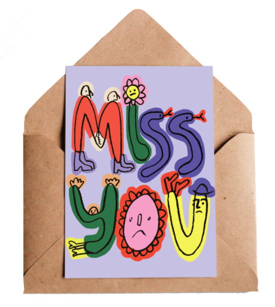 Lottie Hall Greetings card - Miss you