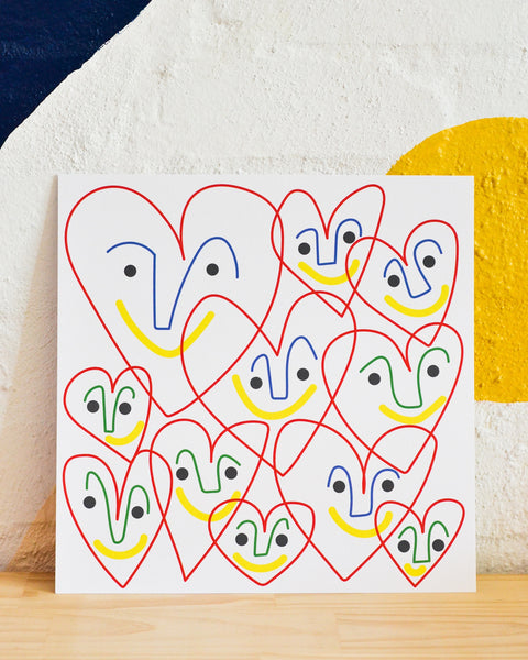 Lottie Hall Square Print -  Happy Hearts