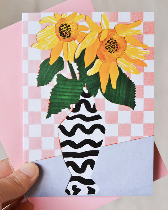 Emily Green - Sunflower Collage Card