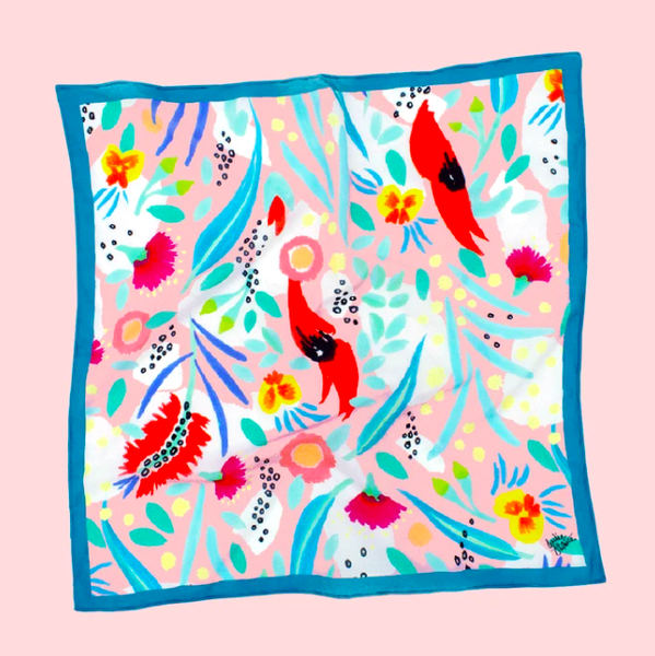 Julie White -  Square Silk Cotton Scarf - Abstract Oz Pink - 65 x 65cm