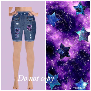 """Jean"" peek a boo shorts - TC-purple Star"