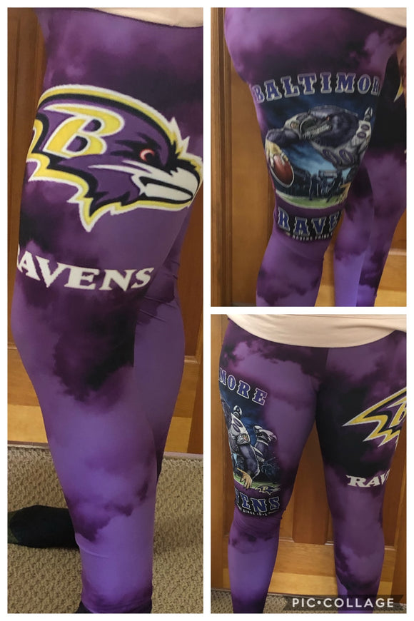 Custom Football leggings- Ravens (OS) - Alonna's Legging Land