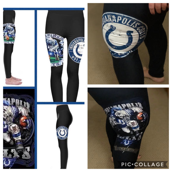 Custom Football leggings- Colts - Alonna's Legging Land