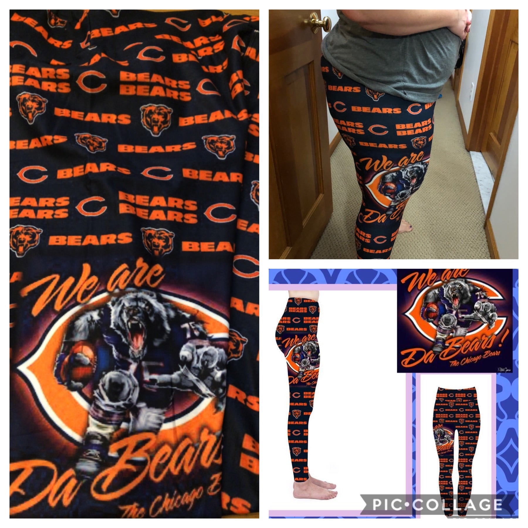 Custom Football leggings- Da bears