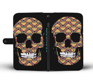 Mayan Skull Print Awesome Phone Case/Wallet