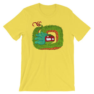 Bright yellow shirt with Quetzalcoatl feathered serpent graphic coiled in the middle.