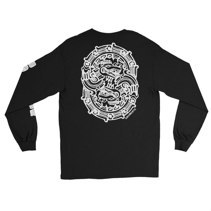 This long sleeve t shirt makes a great gift for anyone that loves ancient symbols, quetzalcoatl, unity rings, or long sleeve t shirts.