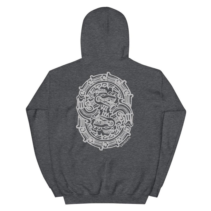 This hoodie makes a great gift for anyone that loves ancient symbols, quetzalcoatl or kukulcan, unity ring, or hoodies. gray hoodie