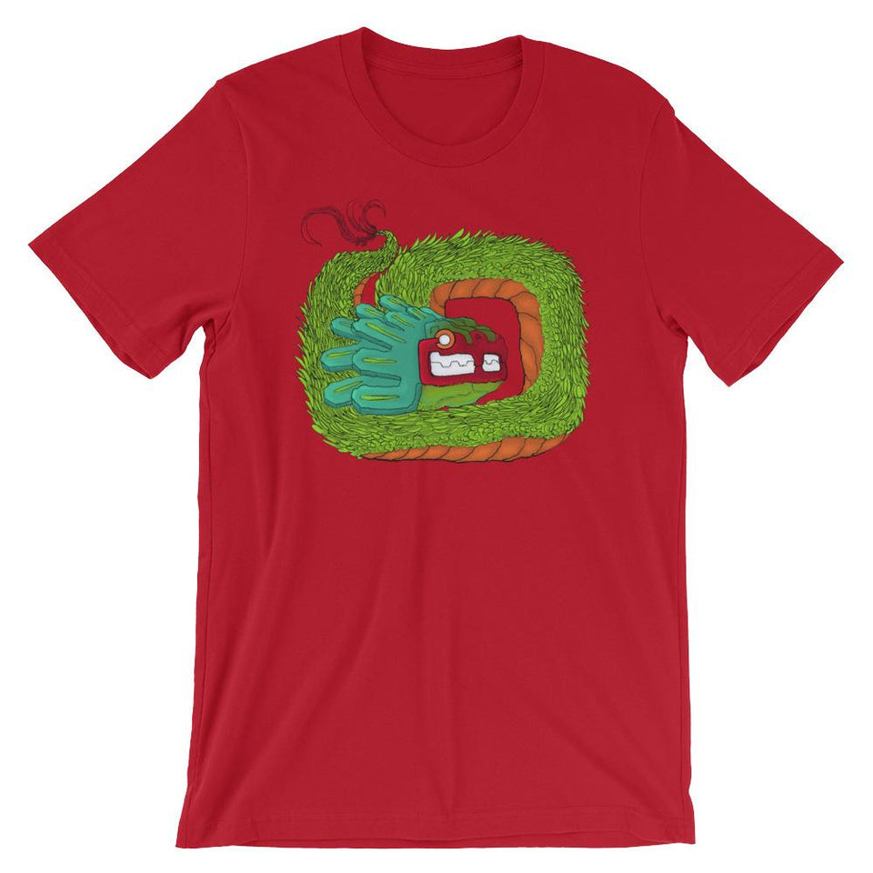 Red shirt with Quetzalcoatl feathered serpent graphic coiled in the middle.