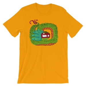 Golden yellow shirt with Quetzalcoatl feathered serpent graphic coiled in the middle.