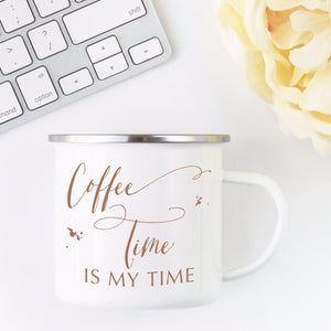 Campfire Coffee Mug | Coffee Time is My Time Exclusive to Oh, Yes! Designs 10 oz Metal Campfire Mug