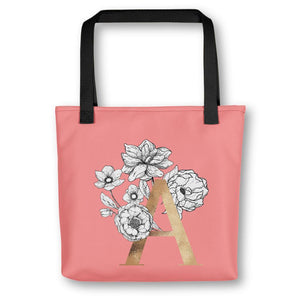 Coral Tote Bag with Floral Initial Exclusive to Oh, Yes! Designs A