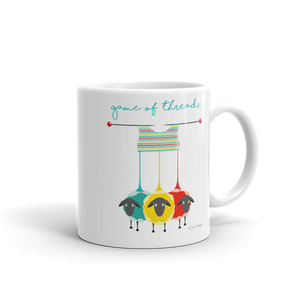 Game of Threads Coffee Mug for Knitters Exclusive to Oh, Yes! Designs 11oz White