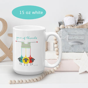 Game of Threads Coffee Mug for Knitters Exclusive to Oh, Yes! Designs 15oz White