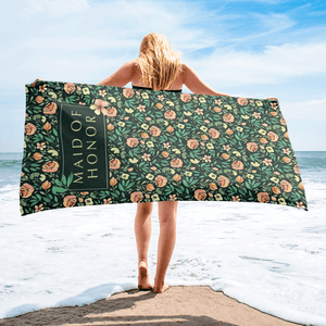 Green Beach Towel for Maid of Honor Exclusive to Oh, Yes! Designs