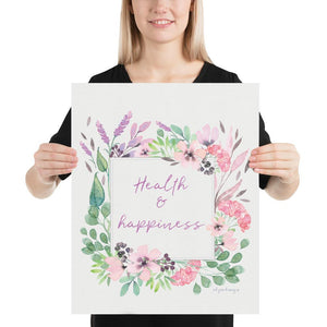Health & Happiness Wall Art | Watercolor Floral Exclusive to Oh, Yes! Designs 16×20
