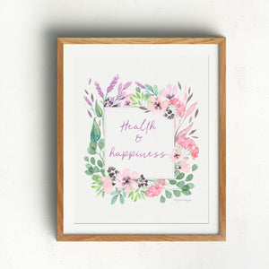 Health & Happiness Wall Art | Watercolor Floral Exclusive to Oh, Yes! Designs