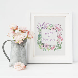Health & Happiness Wall Art | Watercolor Floral Exclusive to Oh, Yes! Designs 8×10