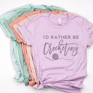 I'd Rather Be Crocheting | Unisex T-Shirt Exclusive to Oh, Yes! Designs Heather Prism Lilac S