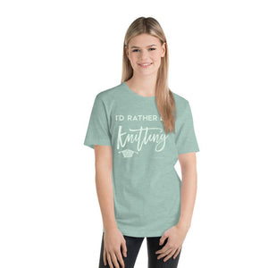 I'd Rather Be Knitting | Unisex T-Shirt Exclusive to Oh, Yes! Designs Heather Prism Dusty Blue Green S