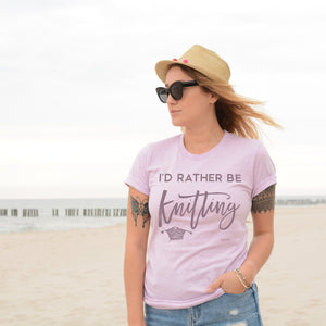 I'd Rather Be Knitting | Unisex T-Shirt Exclusive to Oh, Yes! Designs Heather Prism Lilac S