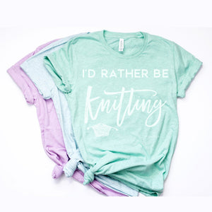 I'd Rather Be Knitting | Unisex T-Shirt Exclusive to Oh, Yes! Designs Heather Prism Mint S