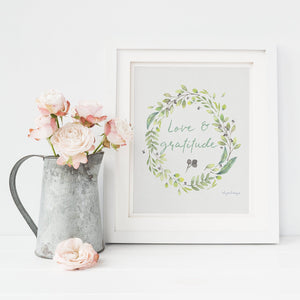 Love & Gratitude Wall Art | A Floral Mantra Exclusive to Oh, Yes! Designs 8×10