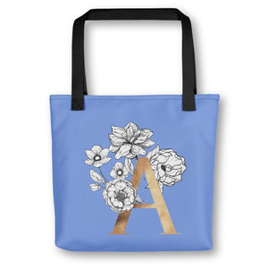 Periwinkle Blue Tote Bag with Floral Initial Exclusive to Oh, Yes! Designs A