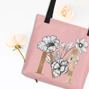 Rose Pink Tote Bag with Floral Initial Exclusive to Oh, Yes! Designs