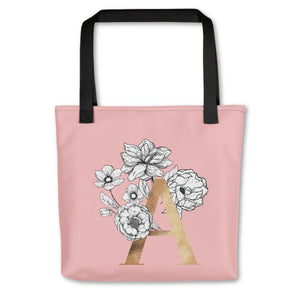 Rose Pink Tote Bag with Floral Initial Exclusive to Oh, Yes! Designs A