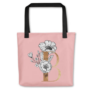 Rose Pink Tote Bag with Floral Initial Exclusive to Oh, Yes! Designs B