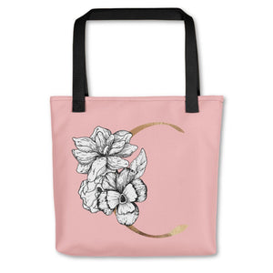 Rose Pink Tote Bag with Floral Initial Exclusive to Oh, Yes! Designs C