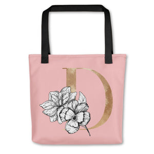 Rose Pink Tote Bag with Floral Initial Exclusive to Oh, Yes! Designs D