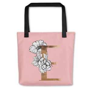 Rose Pink Tote Bag with Floral Initial Exclusive to Oh, Yes! Designs E