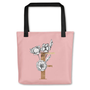 Rose Pink Tote Bag with Floral Initial Exclusive to Oh, Yes! Designs F