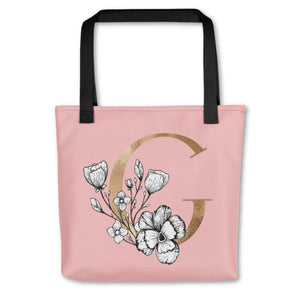 Rose Pink Tote Bag with Floral Initial Exclusive to Oh, Yes! Designs G