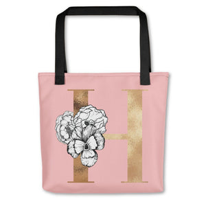 Rose Pink Tote Bag with Floral Initial Exclusive to Oh, Yes! Designs H